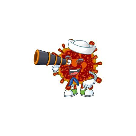 Deadly coronvirus in Sailor cartoon character design with binocular 向量圖像