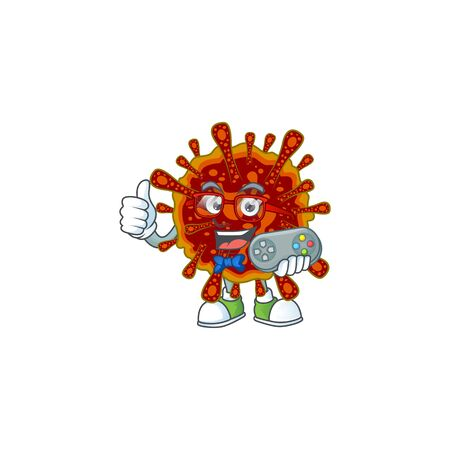 Talented deadly coronvirus gamer mascot design using controller 向量圖像