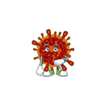 A cartoon icon of deadly coronvirus with waiting gesture