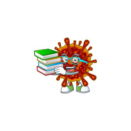 A hard-working student in deadly coronvirus cartoon design with book  イラスト・ベクター素材