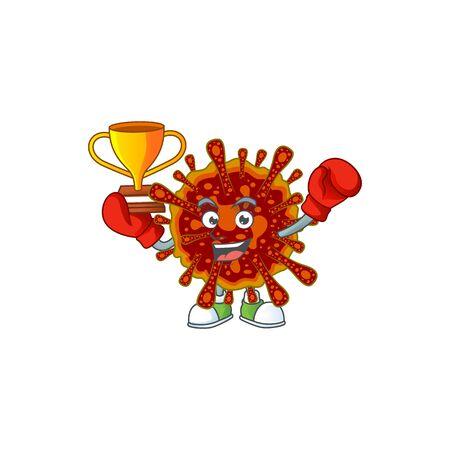 Happy face of boxing winner deadly coronvirus in mascot design style