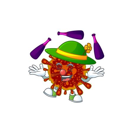 Deadly coronvirus cartoon character concept love playing Juggling