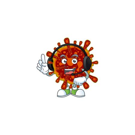 An attractive deadly coronvirus mascot character concept wearing headphone