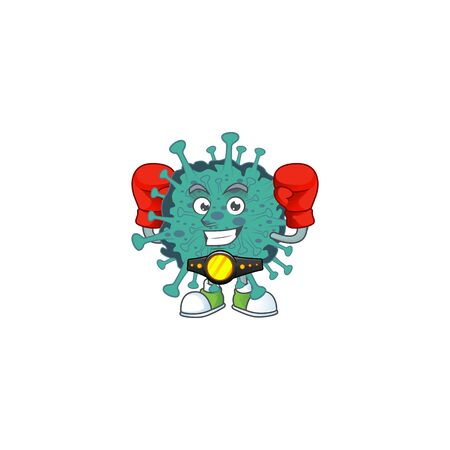 A sporty boxing of critical coronavirus mascot design style