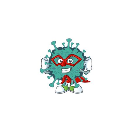 A picture of critical coronavirus dressed as a Super hero cartoon character
