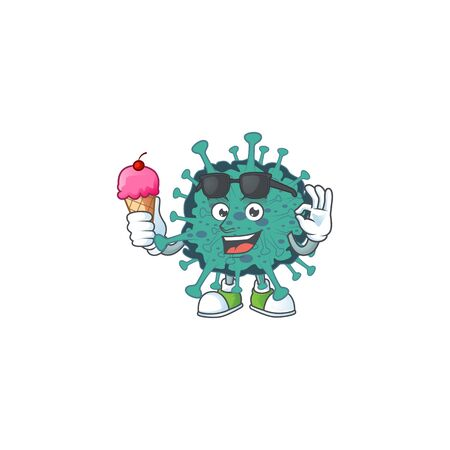 cartoon character of critical coronavirus enjoying an ice cream