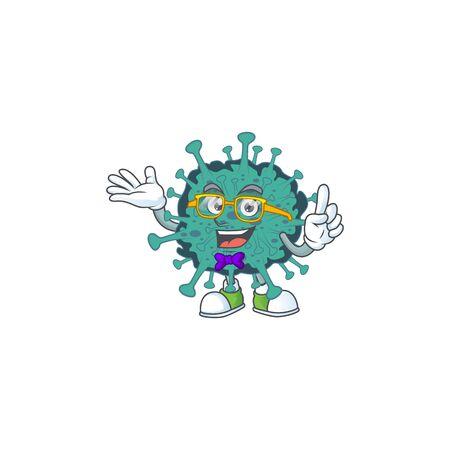 Super Funny critical coronavirus in nerd mascot design style