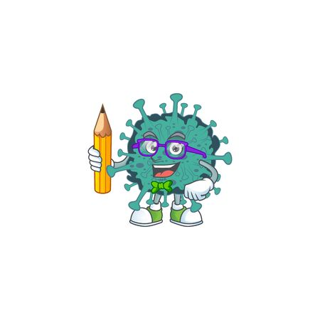 Critical coronavirus clever student character using a pencil  イラスト・ベクター素材