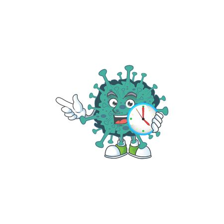 cartoon character style of cheerful critical coronavirus with clock Ilustrace