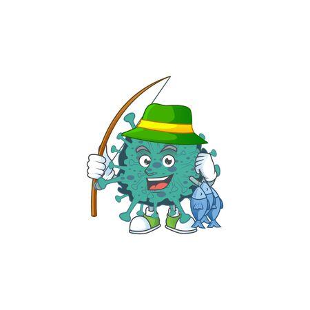 Cartoon character of funny Fishing critical coronavirus 向量圖像