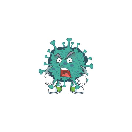 Critical coronavirus mascot design concept showing angry face