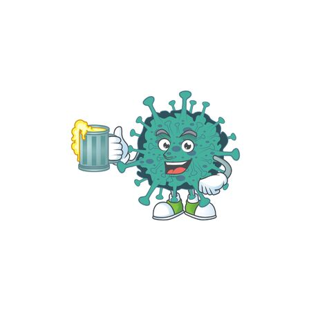 A cartoon concept of critical coronavirus with a glass of beer