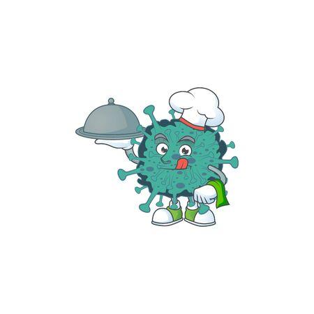 chef cartoon character of critical coronavirus with food on tray