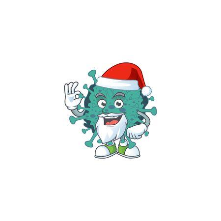 Critical coronavirus cartoon character of Santa showing ok finger