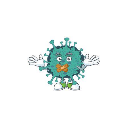Critical coronavirus cartoon character design concept showing silent gesture