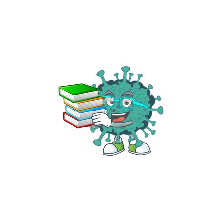 A hard-working student in critical coronavirus cartoon design with book