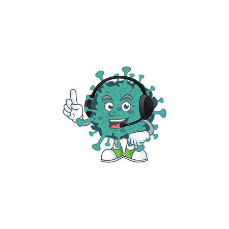 An attractive critical coronavirus mascot character concept wearing headphone