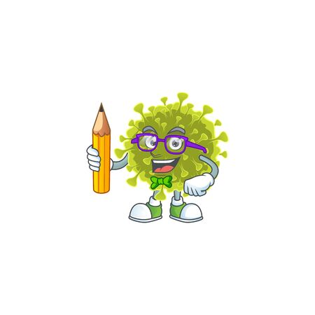 Global coronavirus outbreak clever student character using a pencil 向量圖像