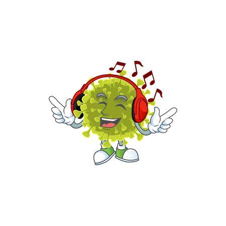 cartoon mascot design of global coronavirus outbreak enjoying music