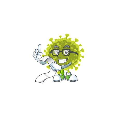cartoon character of global coronavirus outbreak holding menu on his hand Illusztráció