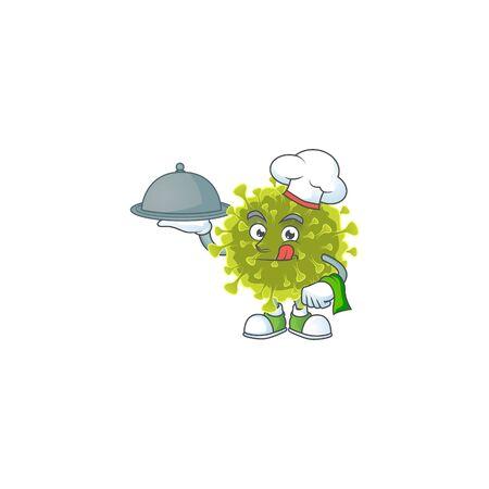 chef cartoon character of global coronavirus outbreak with food on tray