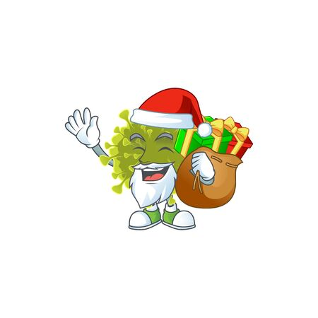 Global coronavirus outbreak Cartoon character of Santa with box of gift