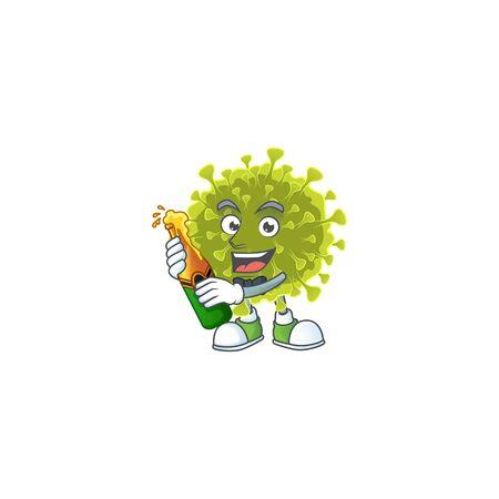 mascot cartoon design of global coronavirus outbreak with bottle of beer