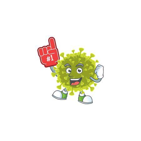 Global coronavirus outbreak presented in cartoon character design with Foam finger