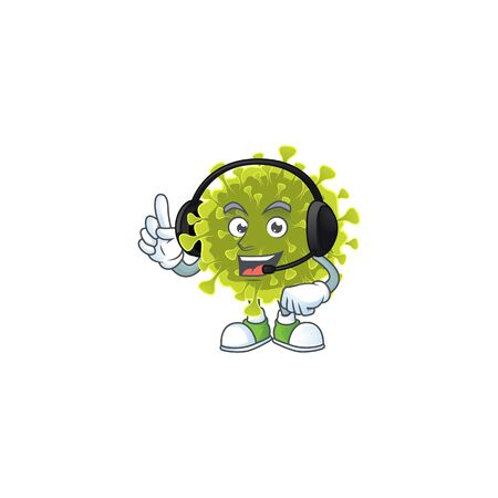 An attractive global coronavirus outbreak mascot character concept wearing headphone