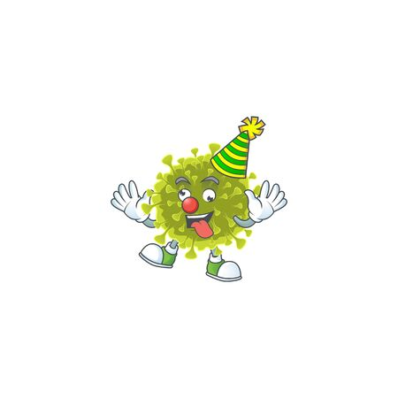 Cute and Funny Clown global coronavirus outbreak presented in cartoon character design concept