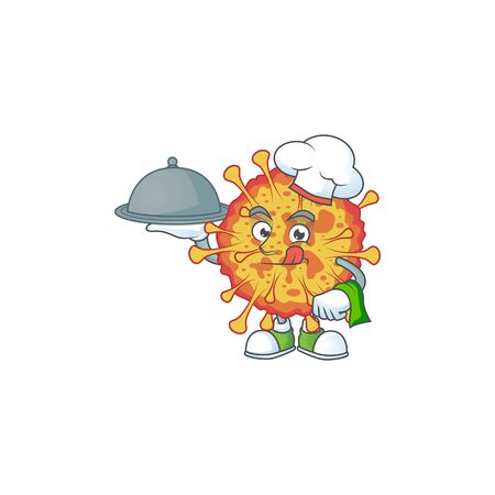 chef cartoon character of epidemic COVID19 with food on tray 向量圖像