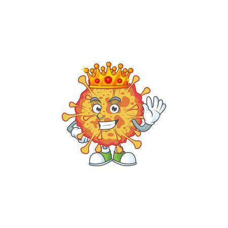 A Charismatic King of epidemic COVID19 cartoon character design Vektoros illusztráció