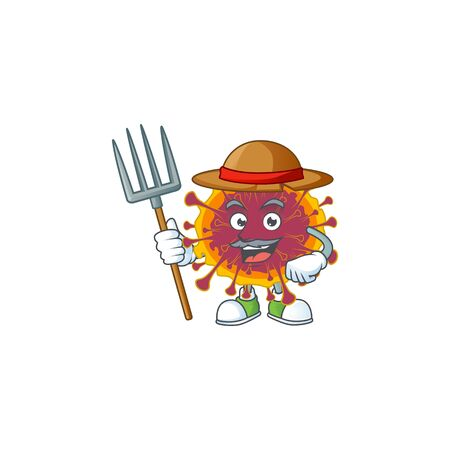 Spreading coronavirus in Farmer mascot design with hat and pitchfork. Vector illustration
