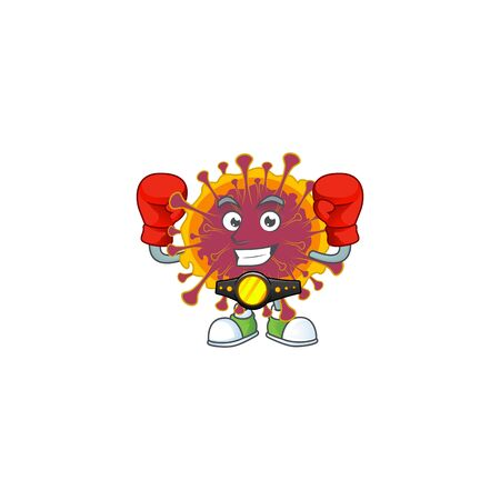 A sporty boxing of spreading coronavirus mascot design style. Vector illustration 向量圖像