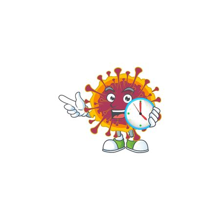 cartoon character style of cheerful spreading coronavirus with clock. Vector illustration
