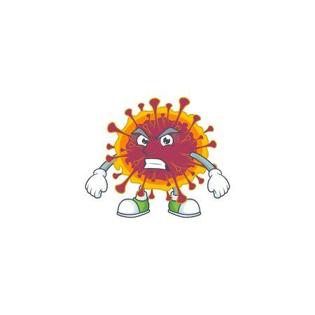 Charming spreading coronavirus mascot design style waving hand. Vector illustration Ilustração