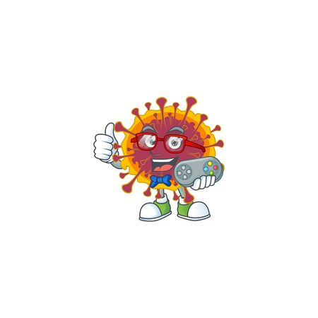 Talented spreading coronavirus gamer mascot design using controller. Vector illustration