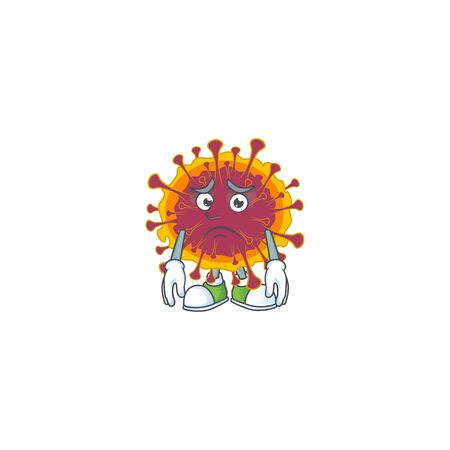 Spreading coronavirus mascot design style with worried face. Vector illustration 矢量图像