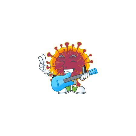 Supper talented spreading coronavirus cartoon design with a guitar. Vector illustration Illustration