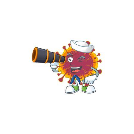 Spreading coronavirus in Sailor cartoon character design with binocular. Vector illustration