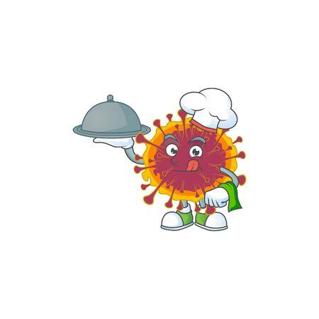 chef cartoon character of spreading coronavirus with food on tray. Vector illustration