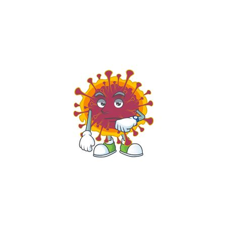 A cartoon icon of spreading coronavirus with waiting gesture. Vector illustration
