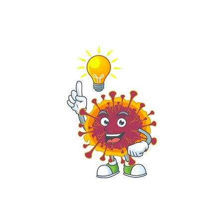 Spreading coronavirus mascot character design with have an idea cute gesture. Vector illustration