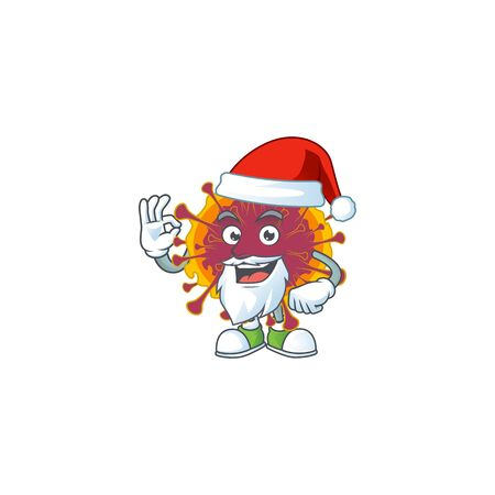 Spreading coronavirus cartoon character of Santa showing ok finger. Vector illustration
