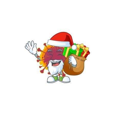 Spreading coronavirus Cartoon character of Santa with box of gift. Vector illustration