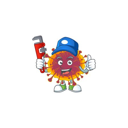 Smart Plumber worker of spreading coronavirus cartoon character design. Vector illustration Illustration