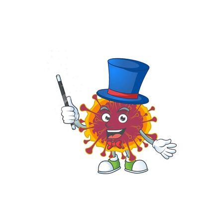 Charming spreading coronavirus cartoon design performance as a Magician style. Vector illustration