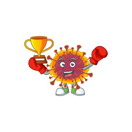 Happy face of boxing winner spreading coronavirus in mascot design style. Vector illustration
