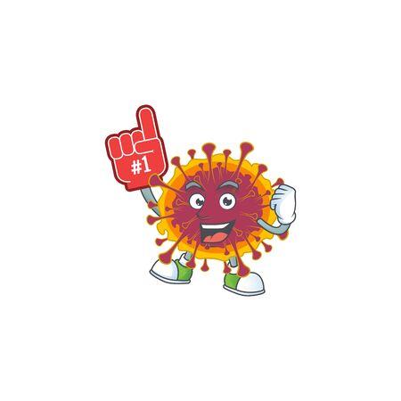 Spreading coronavirus presented in cartoon character design with Foam finger. Vector illustration
