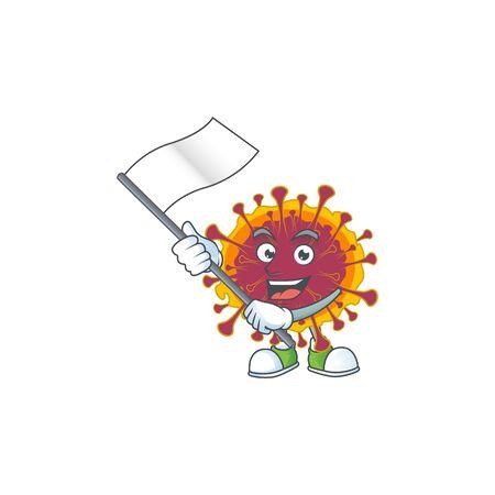 A patriotic spreading coronavirus mascot character design holding standing flag. Vector illustration